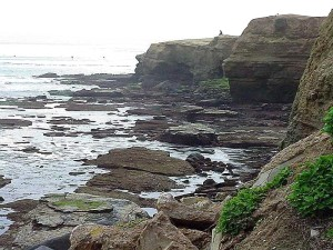 tidepools, ocean, cliffs