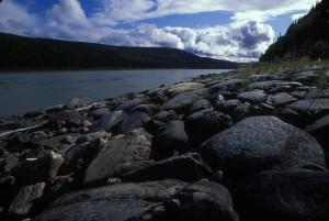 big, black, stones, river, shore