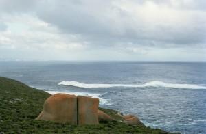 grand, rochers, côte, Kangaroo, île, Australie