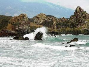vagues, plage, côte