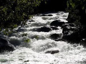 fast, creek, mountain