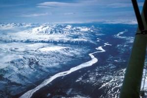 congelés, Watana, ruisseau, Talkeetna, montagnes