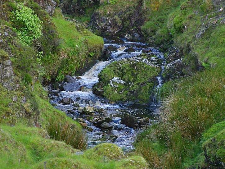 Glengesh, passer, Irlande, ruisseau, ruisseaux, l'eau, la mousse