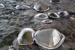 glace, lentille, de la vapeur, les rochers