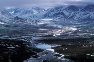 glace, ruisseau, hautes montagnes