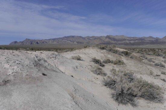 púšť, piesok, duny, popredí, hory, pozadia