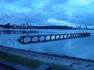 dawn, town, beach