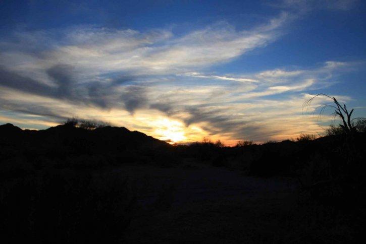 desert, sunset, dusk, hills