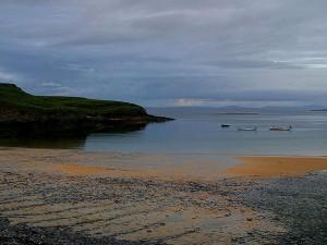 irlande, plages, crépuscule, soir
