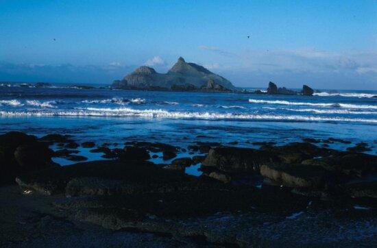 rock, beach, dusk, California