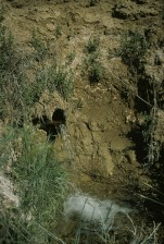 subsurface, drain, outlet, liquid, running, surrounding, erosion
