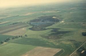 aerial, photo, prairie, pothole, road, center