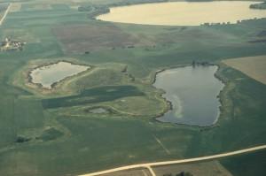 aérien, grande, nids de poule, Minnesota