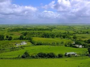 ireland, fields, sky, clouds