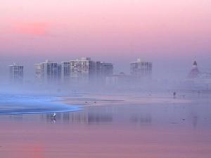 foggy, sunset, coronado