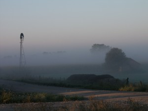 iowa, windmill, morning, fog