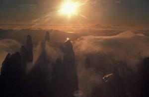 霧、aghileen、ピナクルズ、山、ピーク