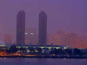 스카이 라인, 도시, 도시, 안개, 아침