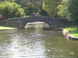 old, stone, bridge, water, flowing, park