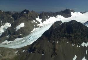 aérien, photo, montagne, glacier, scénique