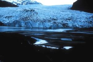 aérien, photographie, glacier, neige