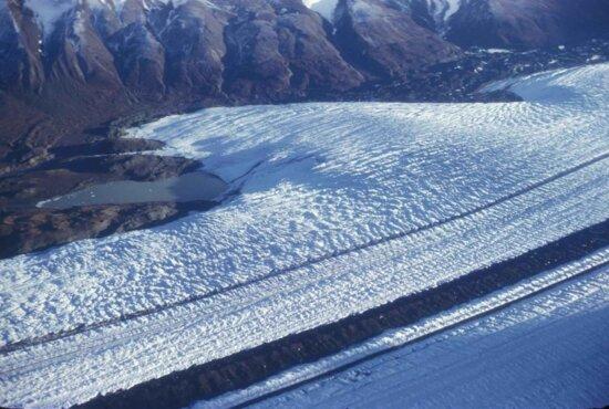 aerial, glacier, wrangell, mountains
