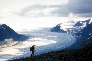glacier, hiker
