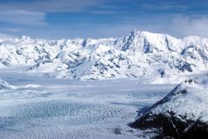 glacier, lots, snow