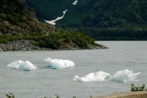 icebergs, water