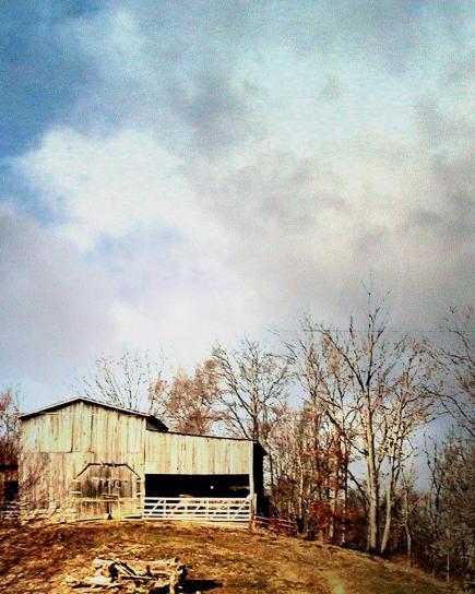 barn, top, hill, southwest, Virginia