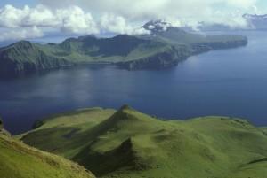 beautiful, top, green, hills, remote, island, sea