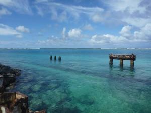 tropical, lagune, île, scène, paysage