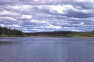 gray, clouds, lake, water