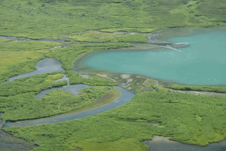 green, lakes, mountain, flats