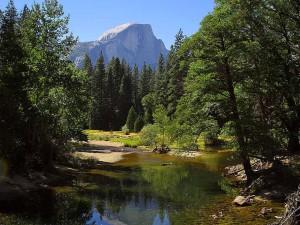 dome, Sentinal, bridge, Merced, river, Yosemite, park