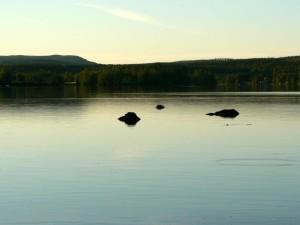 lake, dusk, nature, water surface