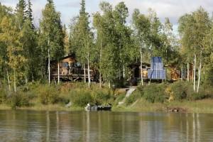 lake, cabins