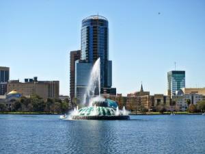 jezero, Eola, Orlando, Florida, fontána