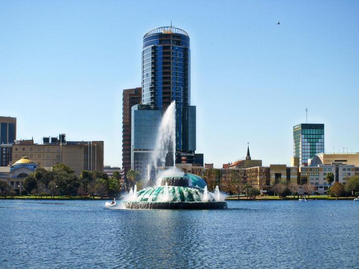 lake, Eola, Orlando, Florida, fountain