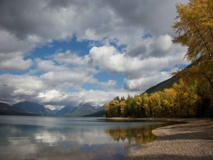 lake, glacier, national park