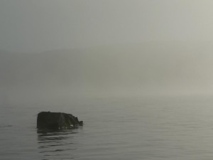 lake, rock, morning, mist