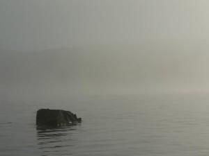 lake, rock, morning, mist