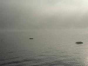lake, rocks, morning, mist