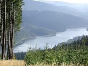 lake, hill