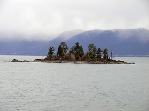 lakes, islands, cloudy