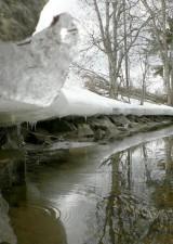melting, lake, side