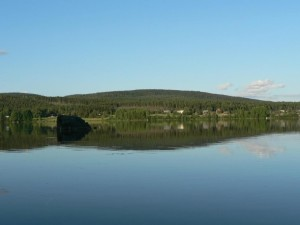 miroir, lac, vert, colline