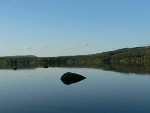 miroir, lac, pierre, eau
