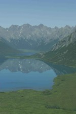 mirrored, lmountains, clear, lake, water
