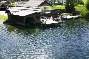 vieux, bois, moulin, lac